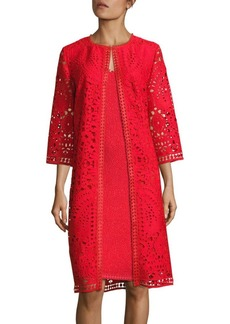 St. John Embroidered Open Lace Jacket