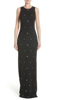 St. John Evening Back Keyhole Shimmer Milano Knit Gown