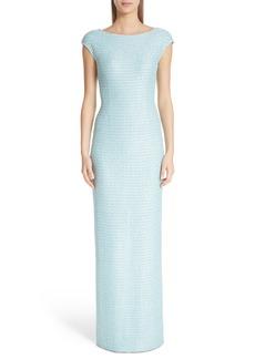 St. John Evening Bateau Neck Glitter Gown