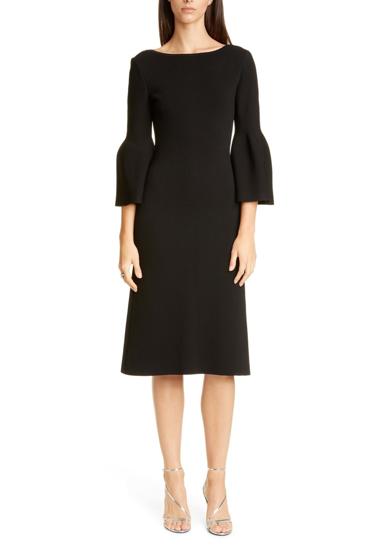 St. John Evening Bateau Neck Sculptural Milano Sweater Dress