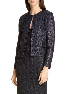 St. John Evening Beaded Metallic Texture Knit Jacket