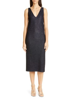 St. John Evening Beaded Metallic Texture Knit Midi Shift Dress