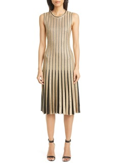 St. John Evening Cable Stripe Knit Dress