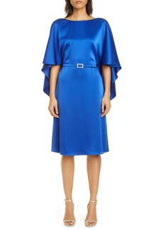 St. John Evening Cape Back Lightweight Liquid Satin Dress