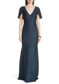 St. John Evening Cape Sleeve Shimmer Sequin Knit Gown
