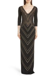 St. John Evening Chevron Sequin Jacquard Knit Gown