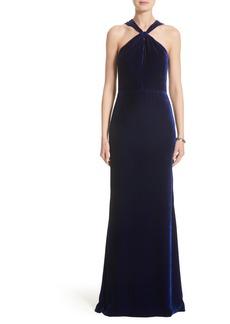 St. John Evening Draped Front Velvet Gown