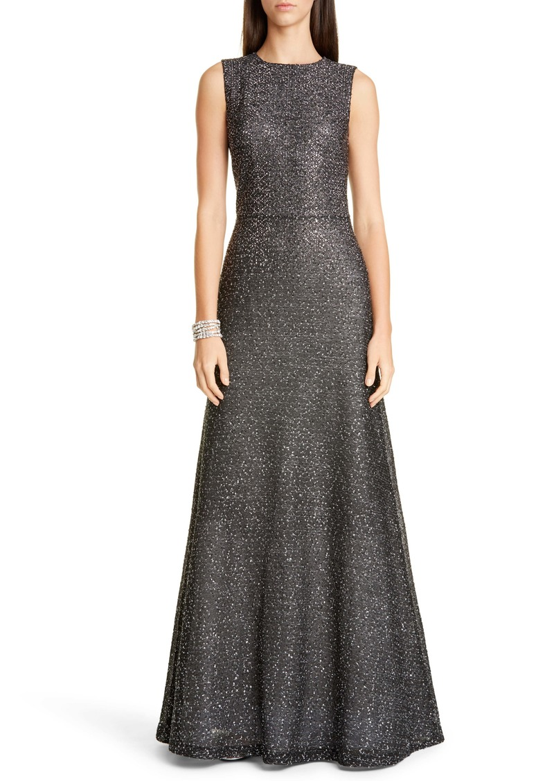 St. John Evening Embellished Netting Knit Trumpet Gown