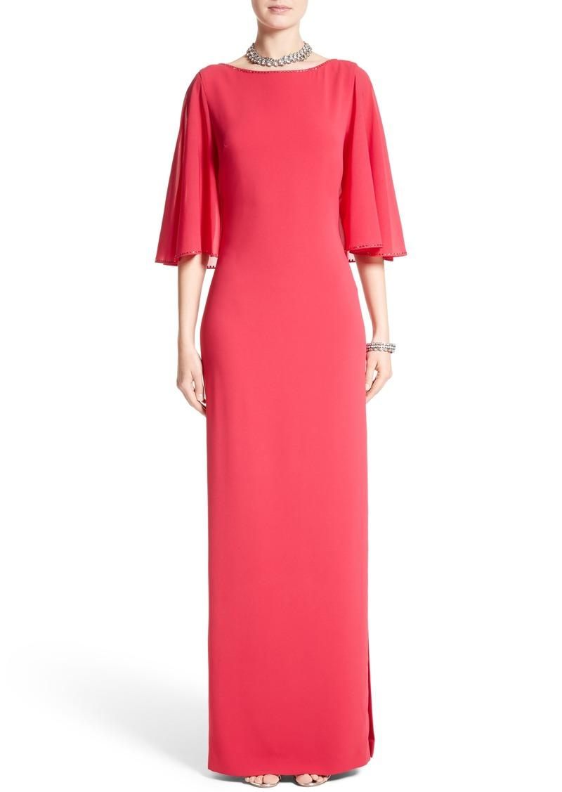 St. John St. John Evening Embellished Stretch Cady Cape Back Gown ...