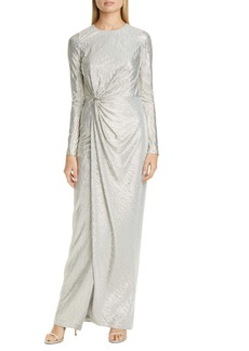 St. John Evening Gathered Lamé Cloque Gown