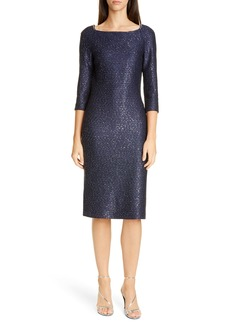 St. John Evening Glimmering Sequin Knit Cocktail Dress