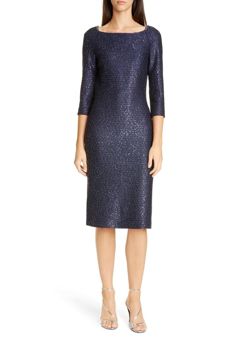 St. John Evening Glimmering Sequin Knit Cocktail Dress