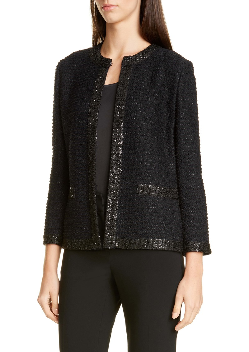 St. John Evening Glittering Textured Stripe Knit Jacket