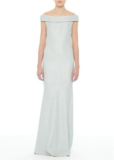 St. John Evening Hansh Sequin Knit Off the Shoulder Gown