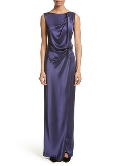 St. John Evening Liquid Satin Drape Front Column Gown