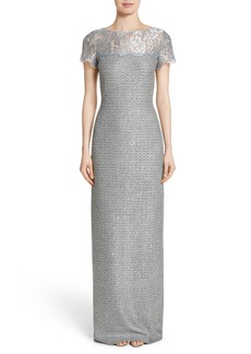 St. John Evening Metallic Knit Gown