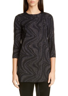 St. John Evening Metallic Marbled Jacquard Knit Tunic