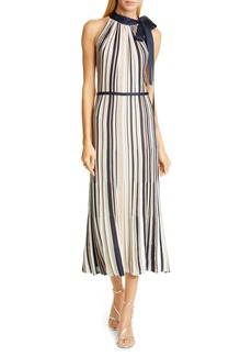 St. John Evening Metallic Stripe Knit Halter Sweater Dress