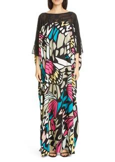 St. John Evening Monarch Butterfly Print Caftan Gown
