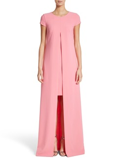 St. John Evening Overlay Crepe A-Line Gown