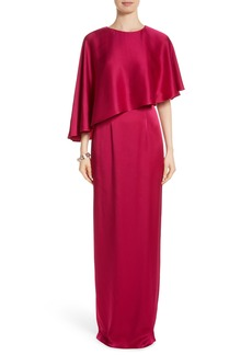 St. John Evening Popover Cape Liquid Crepe Column Gown