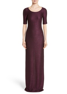 St. John Evening Scooped Neck Hansh Knit Column Gown
