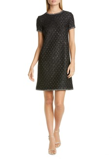St. John Evening Sequin Basket Stitch Sweater Dress