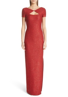 St. John Evening Sequin Column Gown