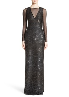 St. John Evening Sequin Illusion Yoke Gown