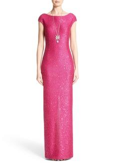 St. John Evening Sequin Knit Column Gown