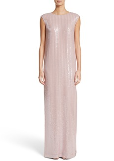 St. John Evening Sequin Silk Georgette Column Gown