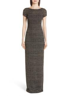 St. John Evening Shimmer Jacquard Knit Column Gown