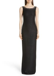 St. John Evening Shimmer Sequin Knit Column Gown