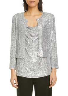 St. John Evening Starlight Sequin Mesh Cardigan