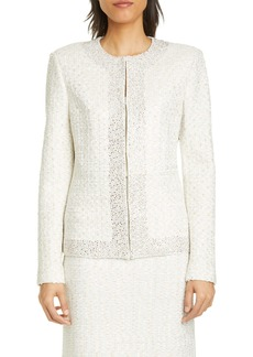 St. John Evening Structured Caged Inlay Knit Jacket