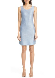 St. John Evening Stud Trim Sequin Knit A-Line Minidress