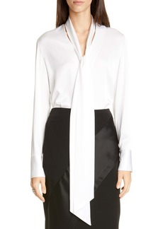 St. John Evening Tie Neck Liquid Satin Blouse