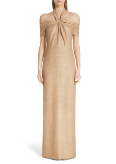 St. John Evening Twisted Neck Band Column Gown