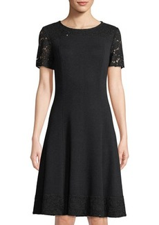 St. John Fit & Flare Sequined Dress