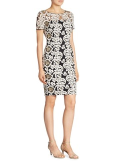 St. John Floral Embroidered Tulle Dress