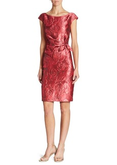 St. John Floral Jacquard Sheath Dress