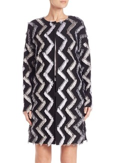 St. John Fringed Zigzag Coat