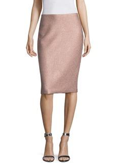 St. John Frosted Metallic Pencil Skirt