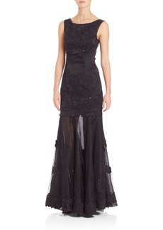 St. John Hand-Beaded Liquid Satin Embroidered Gown