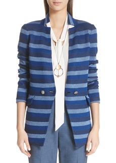 St. John Held Stitch Overlay Stripe Knit Jacket
