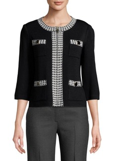 St. John Houndstooth Zip-Front Jacket