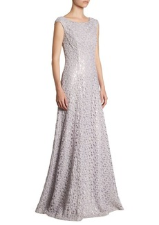 St. John Embroidered Lace A-Line Gown