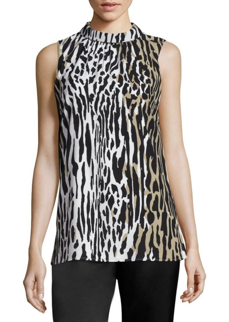St. John Leopard Silk Top