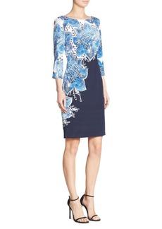 St. John Lotus-Print Sheath Dress