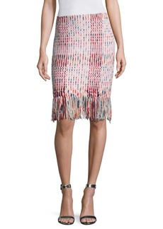 St. John Macro Plaid Ribbon Pencil Skirt